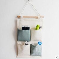 棉麻布艺小挂兜壁挂式整理袋手机遥控器收纳挂袋墙上门后学生宿舍储物袋子d3 浅蓝色