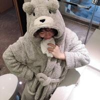 熊熊珊瑚绒睡袍女冬加绒加厚保暖浴袍睡衣长袖可爱卡通韩版家居服 灰色 均码