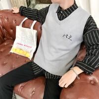 V领毛衣男秋冬款韩版潮流学生小清新马甲情侣装日系宽松针织衫