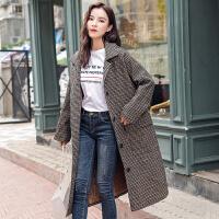RANJU然聚2018秋冬季女装新品新款韩版毛呢外套流行格子大衣女中长款韩国千鸟格呢子外套