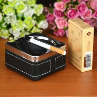 家居摆件收纳大号不锈钢带盖烟灰缸 创意个性时尚欧式礼物送男友