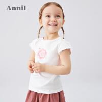 【199元3件】安奈儿女童T恤圆领短袖2020夏季新款宝宝上衣洋气荷叶袖体恤薄款