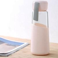 创意水杯 玻璃水杯子便携随手可爱杯男女学生小清新韩版创意潮流简约水瓶