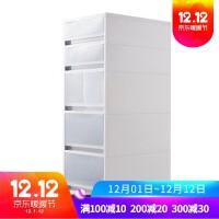 夹缝置物架厨房冰箱旁26CM宽缝隙储物柜卫生间可移动洗衣机收纳柜 (6505) 宽26-深37-高75厘米 5个