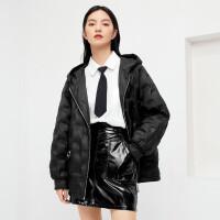 伊芙丽白鸭绒连帽羽绒服女2020冬韩版保暖轻薄羽绒小个子外套