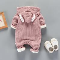 衣服冬季男女0一1岁婴儿小鹿加绒动物连体衣外出抱衣