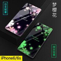 苹果6splus手机壳6p玻璃夜光i6新款网红ipone6女款6s硅胶全包防摔潮牌苹果6超薄软男ip