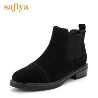 【3折再减80】索菲娅(Safiya)冬季牛皮革/羊皮革圆头方跟短靴SF74116144