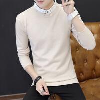 毛衣男韩版套头纯色衬衫领线衣秋季日系文艺假两件衬衣领针织衫潮