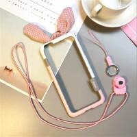 iphone6splus兔耳朵可爱7边框苹果8手机壳7plus硅胶8X防摔新款女 7p/8p5.5寸拼色-兔子粉