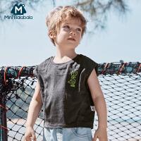 【2件4折】迷你巴拉巴拉男童背心2020夏季新款儿童百搭透气纯棉薄款无袖T恤
