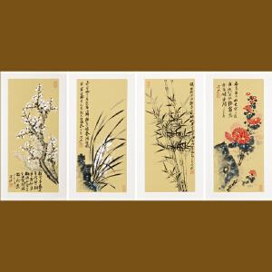 国画四条屏《梅兰竹菊》刘洪迎 清华美院【R4143】