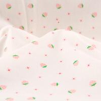 高支棉精梳针织棉纱弹力印花布婴儿a类宝宝睡衣全棉布料面料软 50s 小草莓