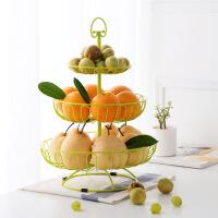 三层水果篮多功能欧式果盘家用客厅水果盘创意多层水果架子 图片色