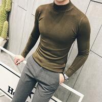 秋季男士半高领针织衫修身纯色套头毛衣韩版潮流内搭紧身上衣 9色