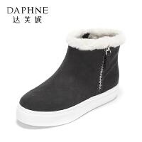 Daphne/达芙妮冬款平底短靴女休闲舒适毛绒雪地靴女