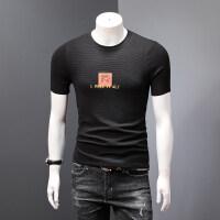 男士针织衫圆领套头纯色修身贴布刺绣短袖T恤男韩版春秋网红同款