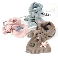 儿童围巾韩版秋冬针织保暖宝宝双面糖果色毛线围脖