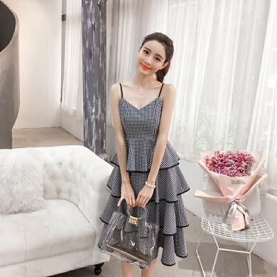 吊带格子长裙蛋糕裙连衣裙女春装新款韩版法式复古打底仙女裙 一般在付款后3-90天左右发货,具体发货时间请以与客服协商的时间为准