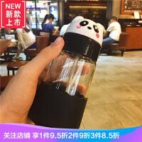 韩国潮流卡通可爱熊吸管玻璃杯儿童学生耐热防爆便携水杯带盖
