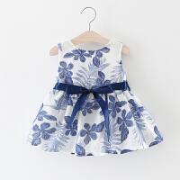 童装女童夏装背心裙2018新款儿童无袖裙子一岁婴儿女宝宝连衣裙夏 蓝色 枫叶裙
