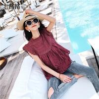 七格格很仙的上衣洋气衬衫女短袖2019新款夏装韩版宽松蕾丝娃娃衫