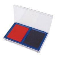 得力 9865 办公财务印台 透明方形快干印泥 红色蓝色二合一