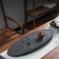 整板天然黑金石茶盘乌金石实木茶盘家用茶海茶台浮雕石头茶托手工立体雕刻方形排水式茶道茶托盘