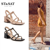 St&Sat/星期六夏季新款凉鞋方头粗跟露趾高跟鞋女SS92115430
