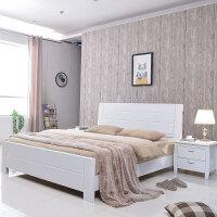 中式实木床1.8米双人床橡胶木1.5米高箱储物床 +乳胶床垫+床头柜*2