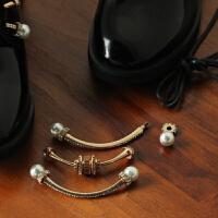 珍珠鞋配件珍珠 圆形半圆 金属配配件 齿轮装饰件女皮鞋卡扣 珍珠款长条卡扣