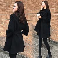 黑色毛呢外套女冬装厚2019韩版小个子中长款冬季呢子大衣