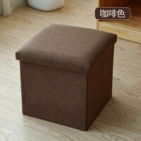 多功能可折叠布艺收纳凳玩具储物凳可坐凳子家用整理箱换鞋凳 简约风-咖啡色 大号【38*38*38CM】