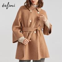 伊芙丽大衣女中长款新款流行100%羊毛毛呢外套女双面呢1A9970391