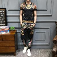 男冰丝短袖T恤长裤套装夏天印花休闲韩版潮流帅气男士时尚两件套