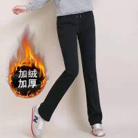 秋冬季加绒加厚运动裤女休闲裤宽松大码直筒裤显瘦裤子 S 75斤-90斤