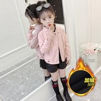 女童皮衣2019新款皮夹克儿童春装外套女大童加绒韩版小女孩洋气潮