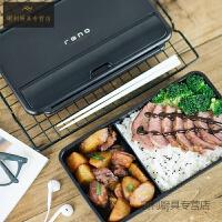 日本便当盒男士健身餐盒微波炉女上班带饭保温分格饭盒 黑色