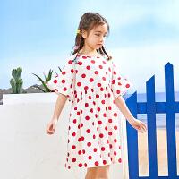 【2件3折:59】巴拉巴拉旗下2019夏新款女童中大童甜美波点印花裙子短袖连衣裙