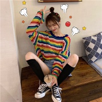 春夏季韩版宽松显瘦罩衫上衣彩虹条纹针织衫2019新款长袖防晒衣女 图色 均码