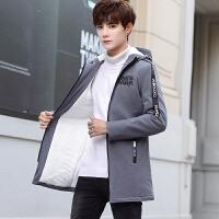男士风衣外套秋冬季新款韩版潮流加绒加厚中长款夹克修身衣服