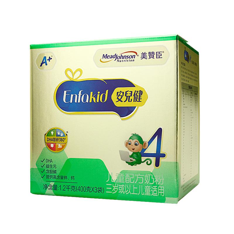 【18年4月生产】美赞臣4段安儿健A+ 儿童配方奶粉4段1200g 400g*3袋装