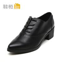 Daphne/达芙妮旗下鞋柜 女鞋秋尖头系带粗中跟舒适单鞋女-