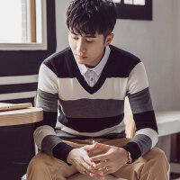 秋季假两件毛衣男青年韩版衬衫领针织衫男士假领条纹线衣打底衫