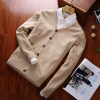 春秋季男士毛衣V领针织衫开衫纯色长袖毛线衣青少年学生棉外套