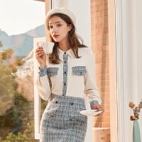 秋水伊人套装2020年冬新品女装气质御姐减龄衬衫短裙拼色两件套装