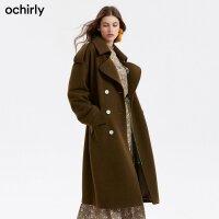 [9月12日3件7折到手价:355元]欧时力冬装排扣系带羊毛长款毛呢外套1GZ3341330