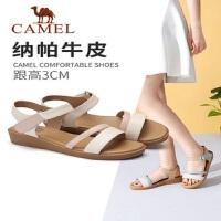 骆驼2019夏季新品牛皮鞋平底仙女凉鞋时尚细带罗马鞋女甜美坡跟鞋