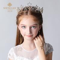儿童皇冠头饰公主发饰金色水钻生日舞蹈女孩发箍王冠水晶饰品