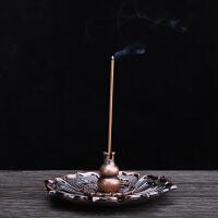仿古盘香香炉香插 莲花葫芦香座三件套卧香炉熏香盒多用香插